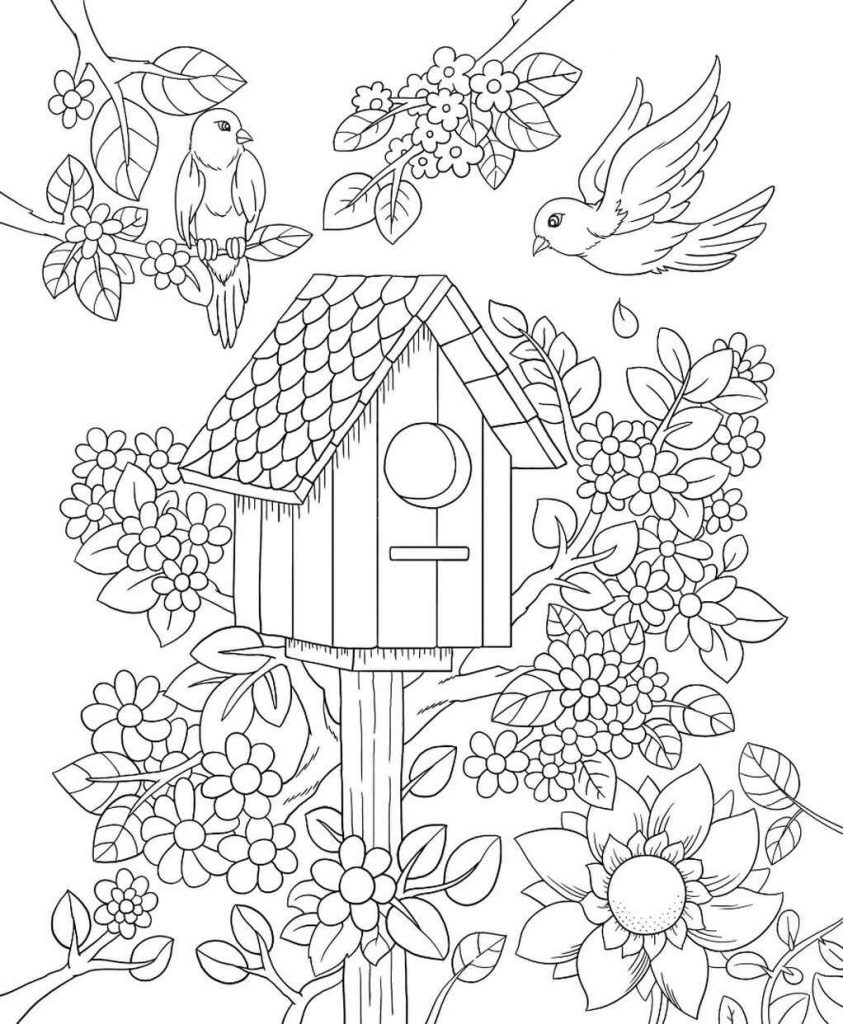Complex Birdhouse With Birds And Flowers Coloring Sheet