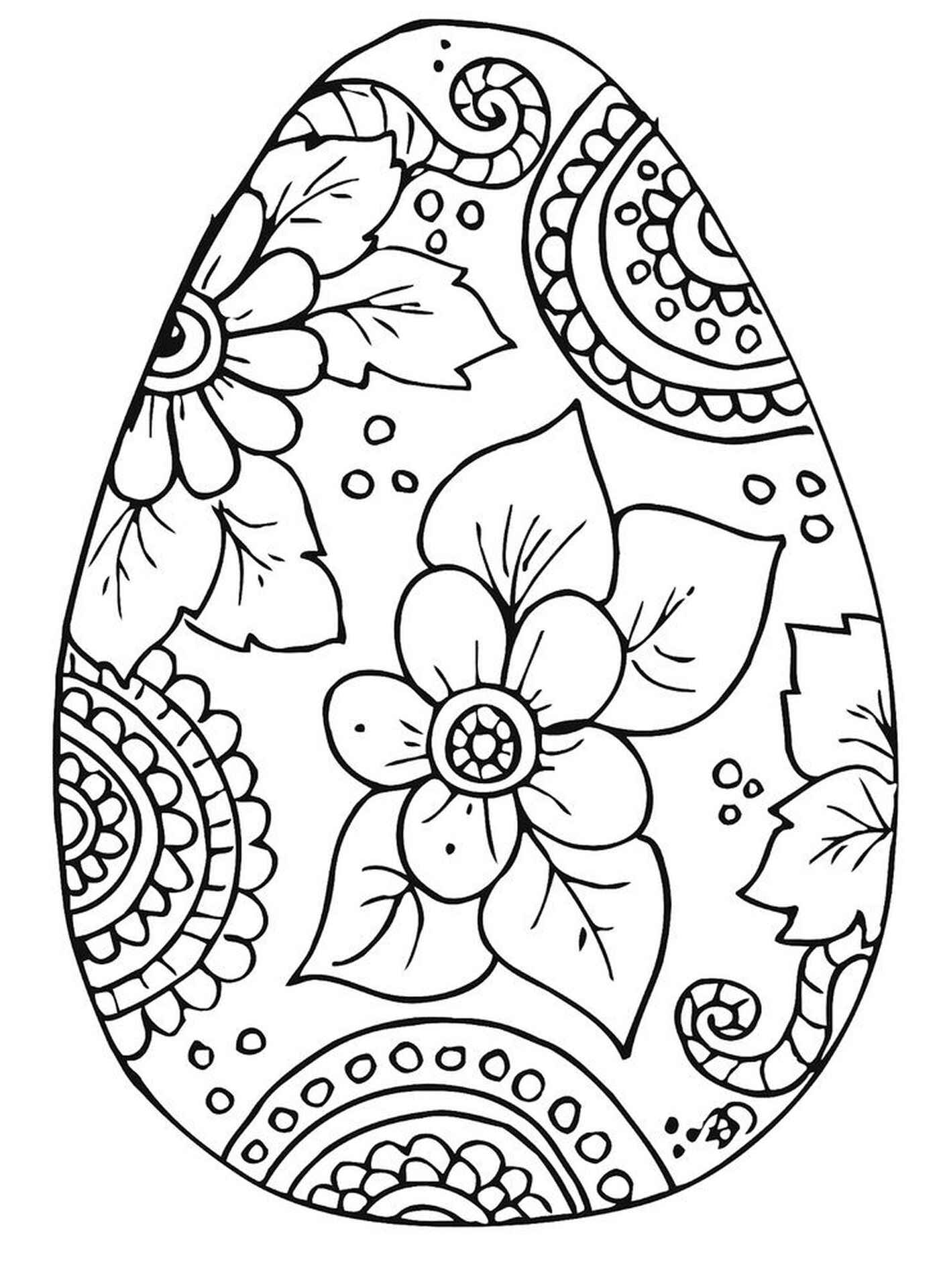 Complex Coloring Page Of An Easter Egg