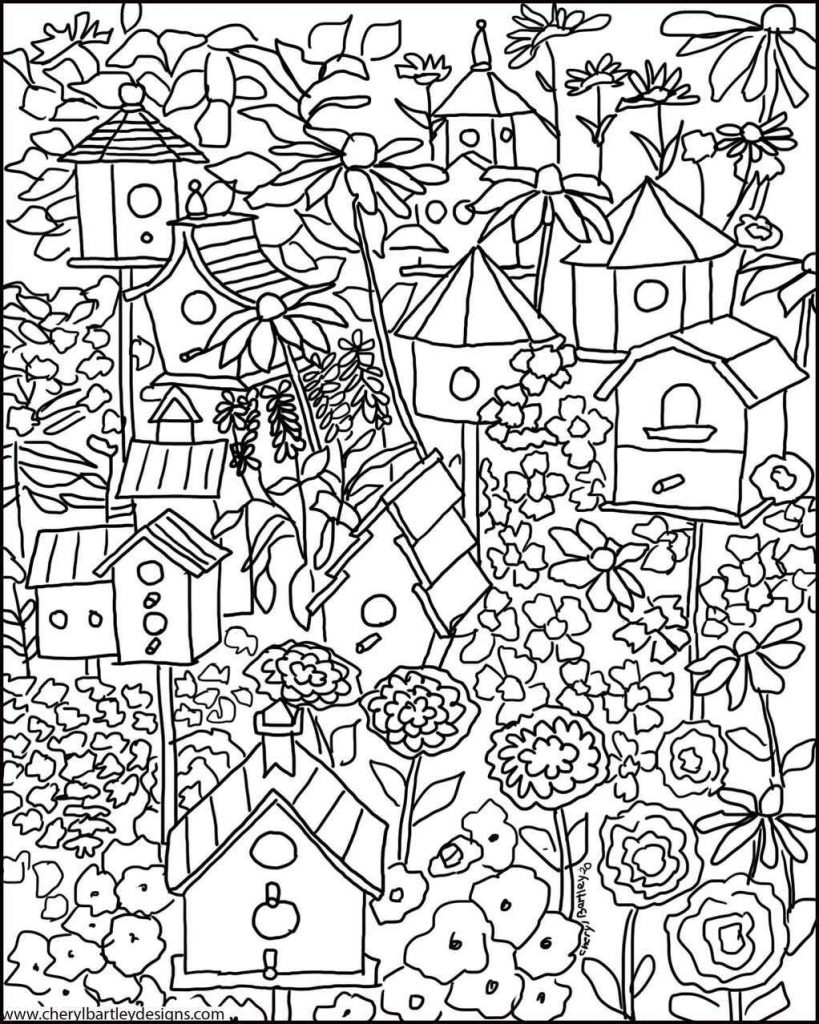Complex Coloring Page Of Birdhouses