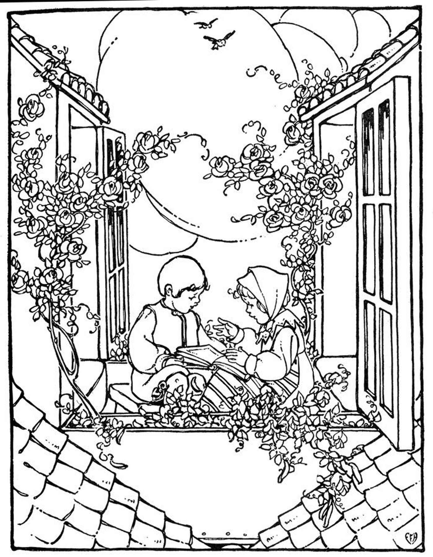 Complex Coloring Page Of Kids