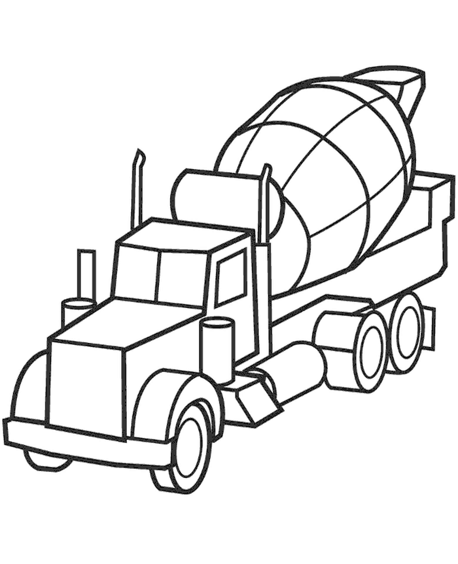Concrete Mixer Coloring Page
