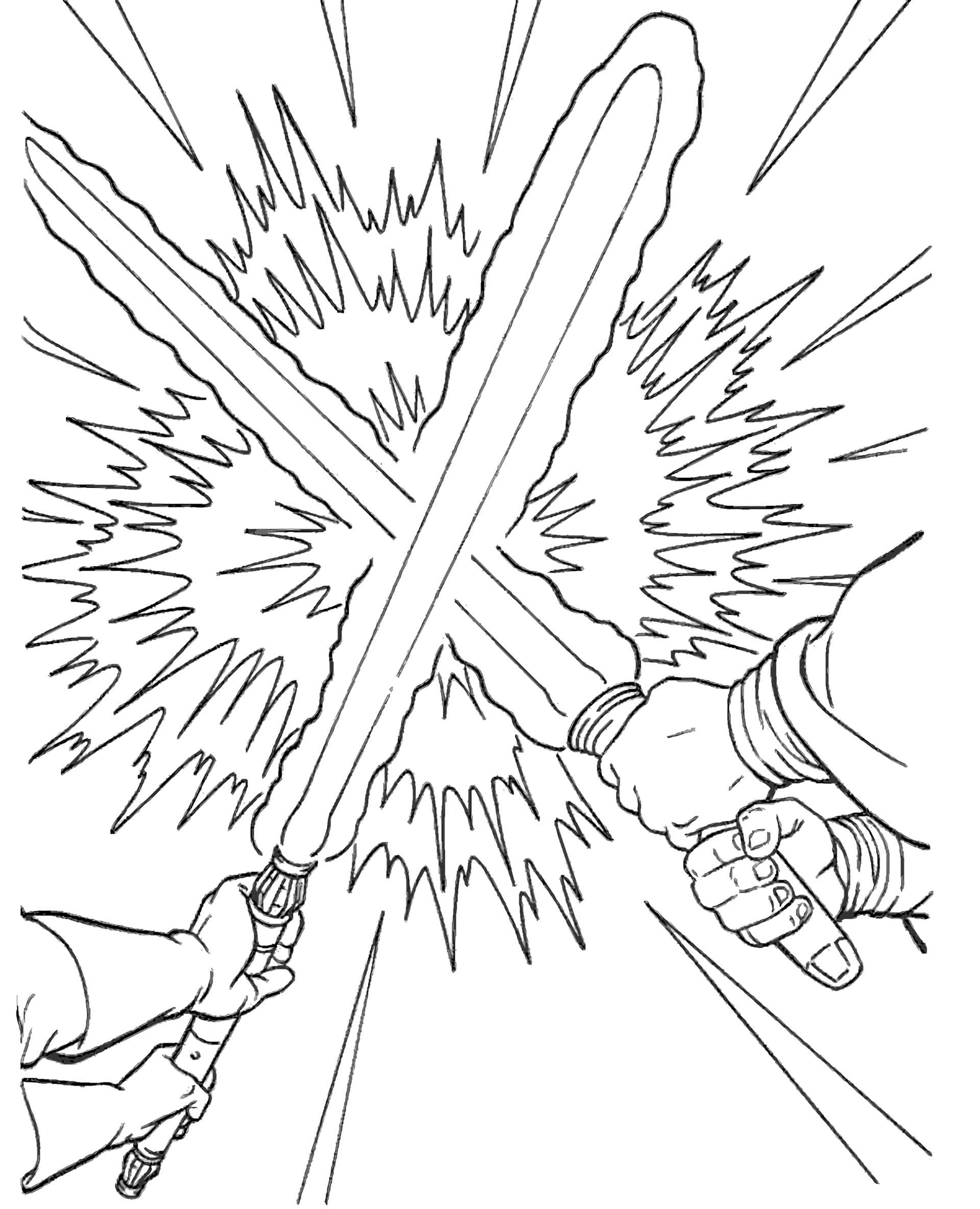 Confrontation Of Two Forces In Star Wars Coloring Page