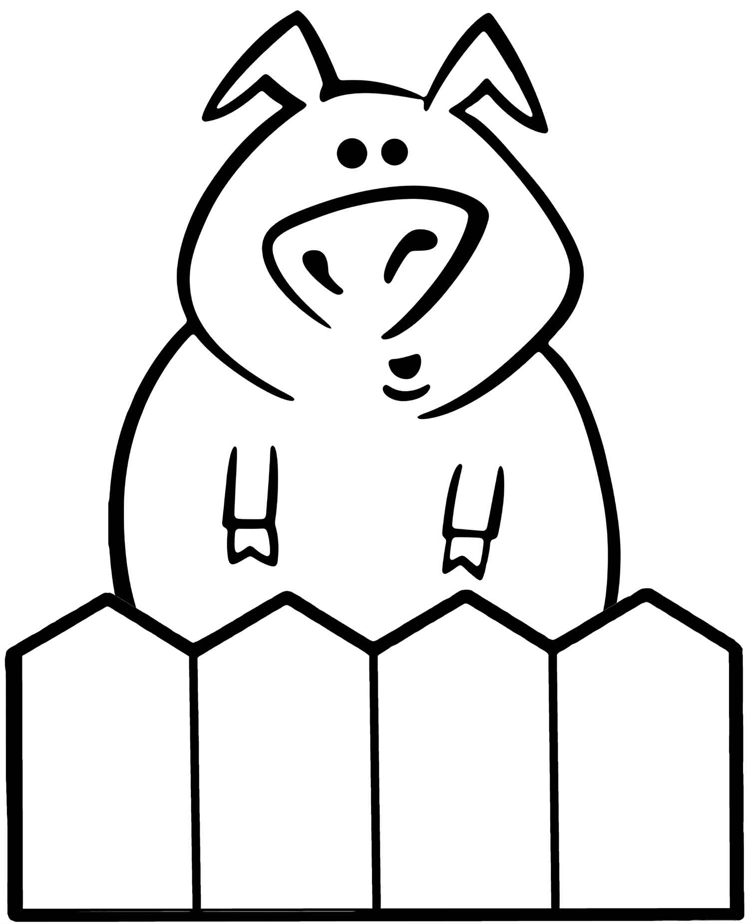 Confused Pig Behind The Fence Coloring Sheet