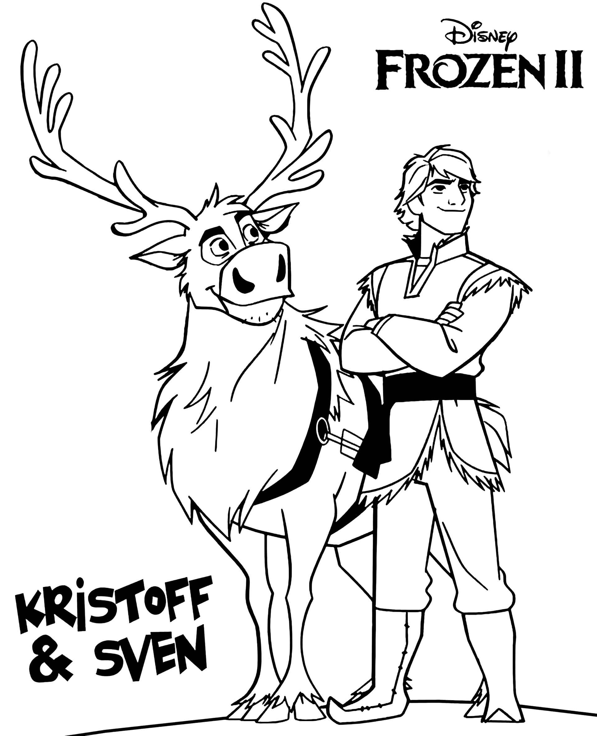 Cool Kristoff And Sven Coloring Page