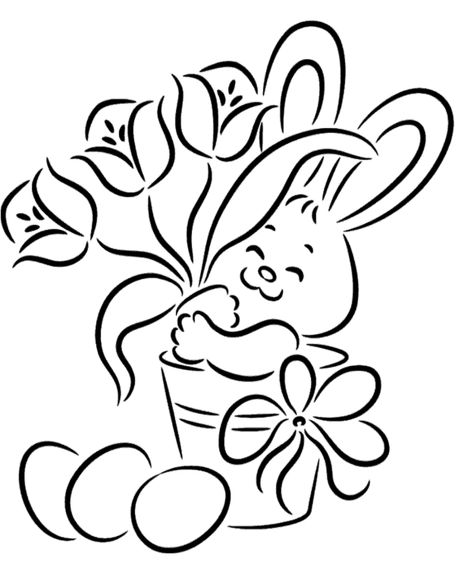 Cozy Coloring Page Of Easter Bunny