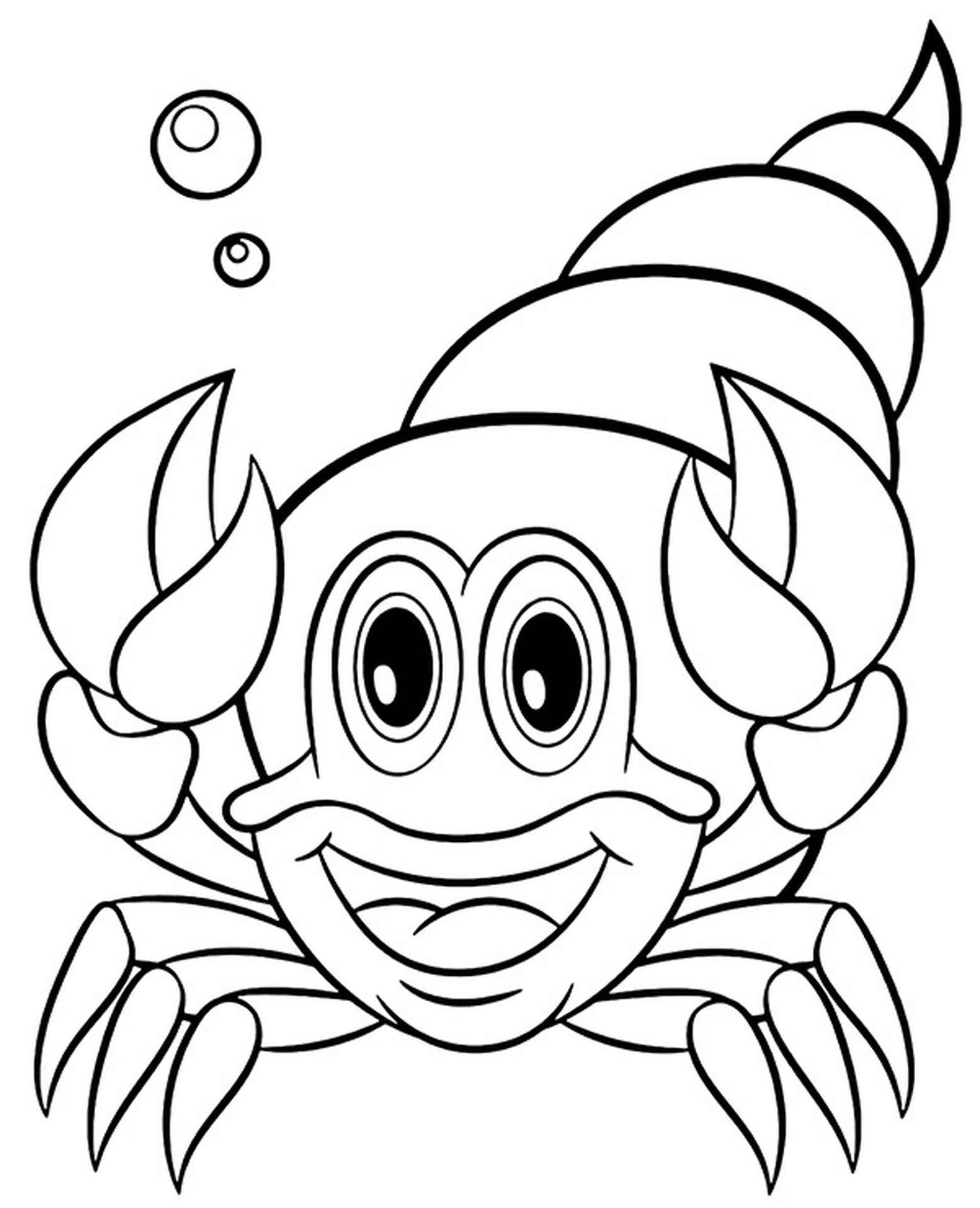 Crab In The Shell Coloring Page
