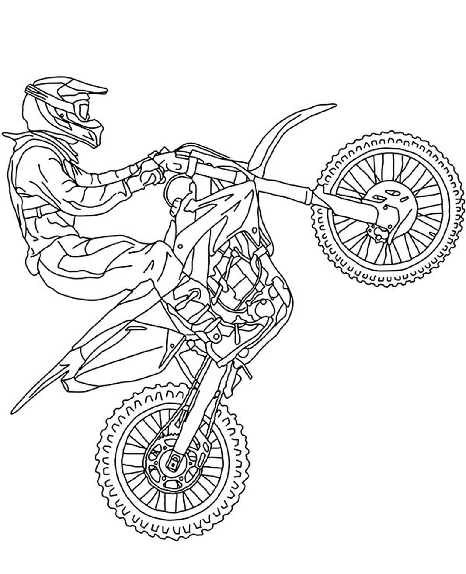 Cross-Country Motorbike Coloring Page