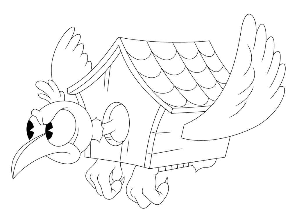 Cuphead Birdhouse Coloring Page