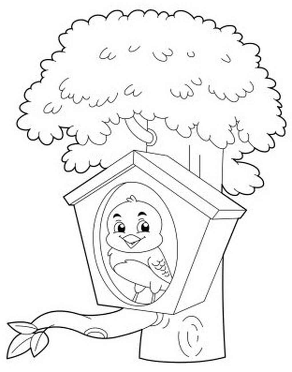 Cute Bird In The Birdhouse Coloring Page