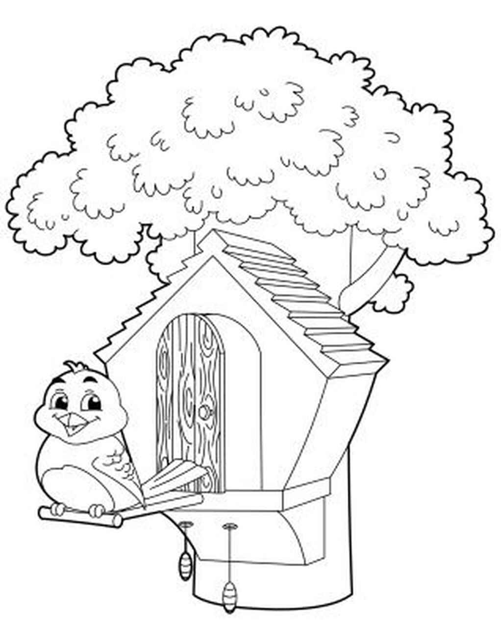 Cute Birdhouse With A Bird On The Tree Coloring Page