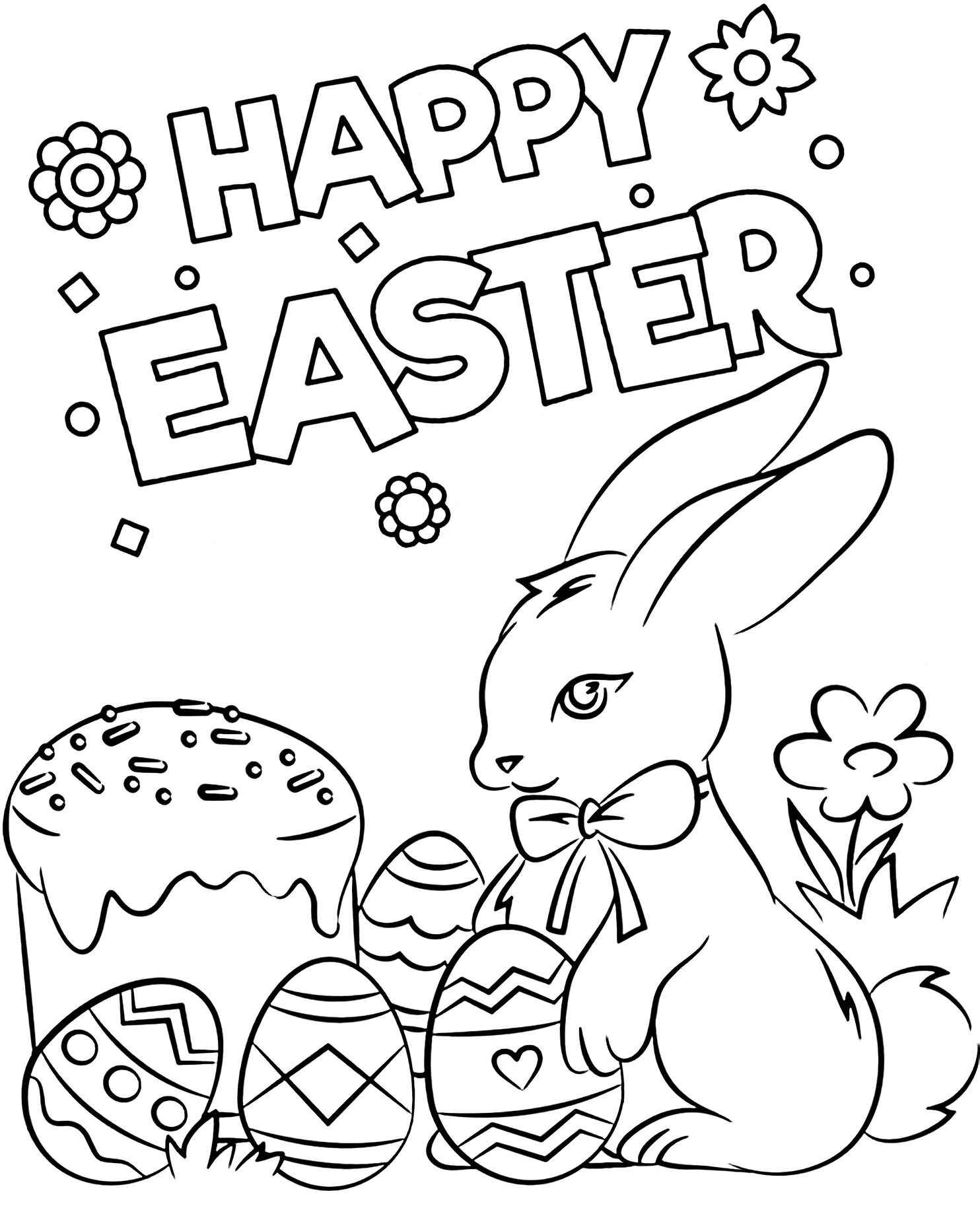Cute Easter Bunny With Easter Eggs Coloring Page