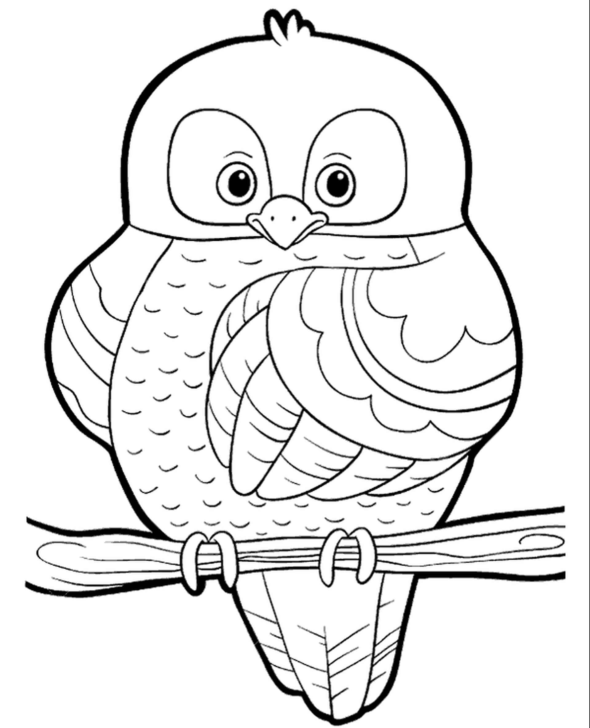 Cute Owl Sitting On The Branch Coloring Sheet