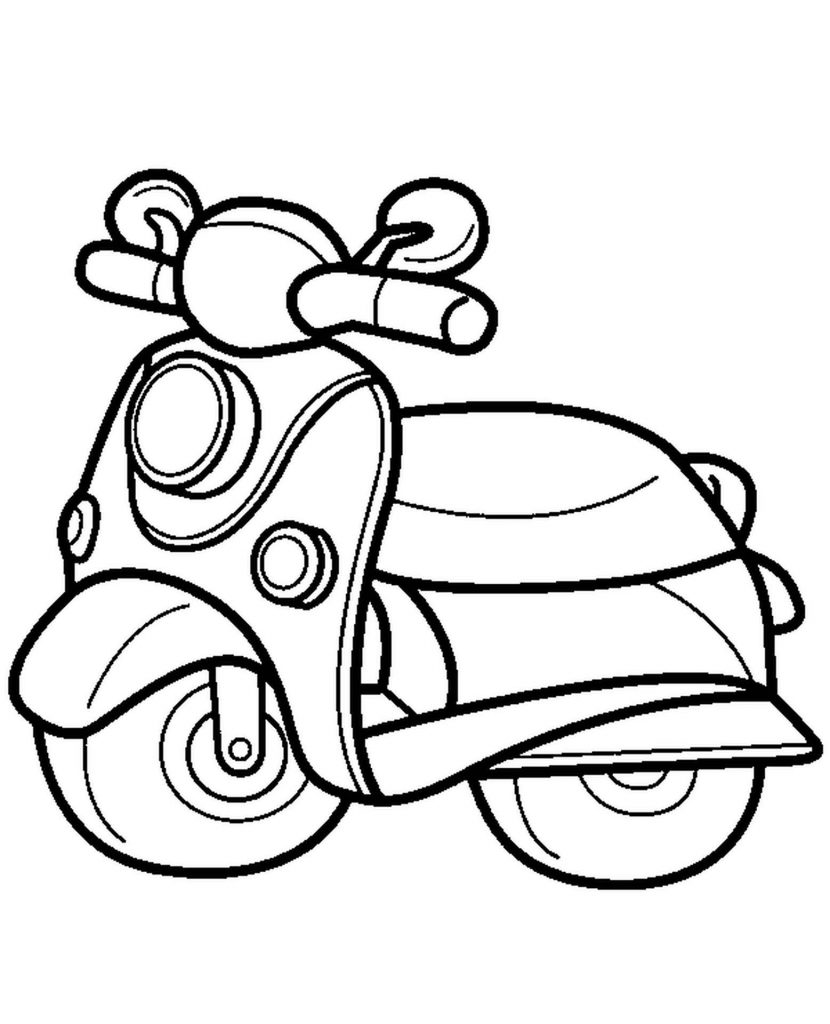 Cute Scooter To Color