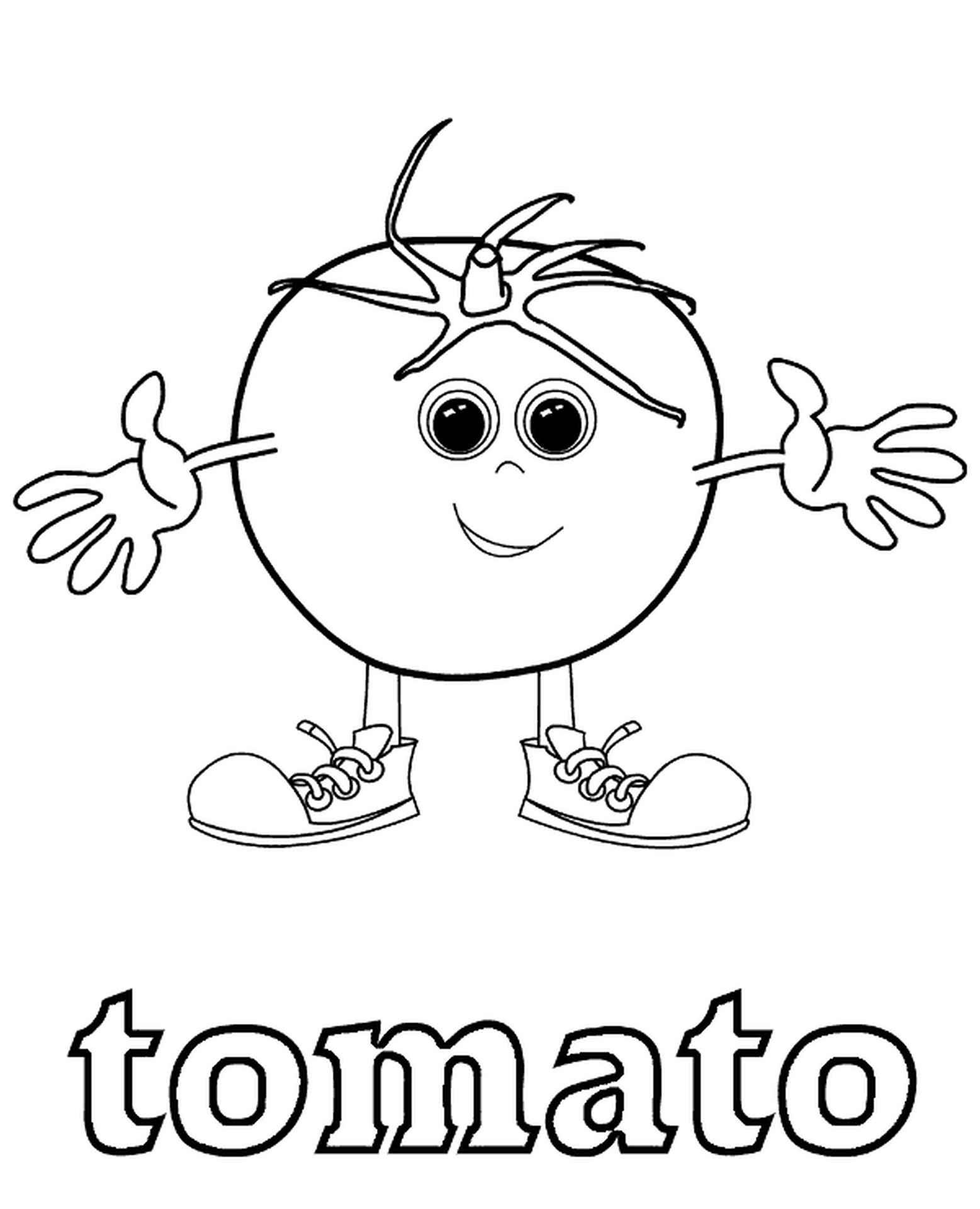 Cute Tomato Coloring Page For Kids