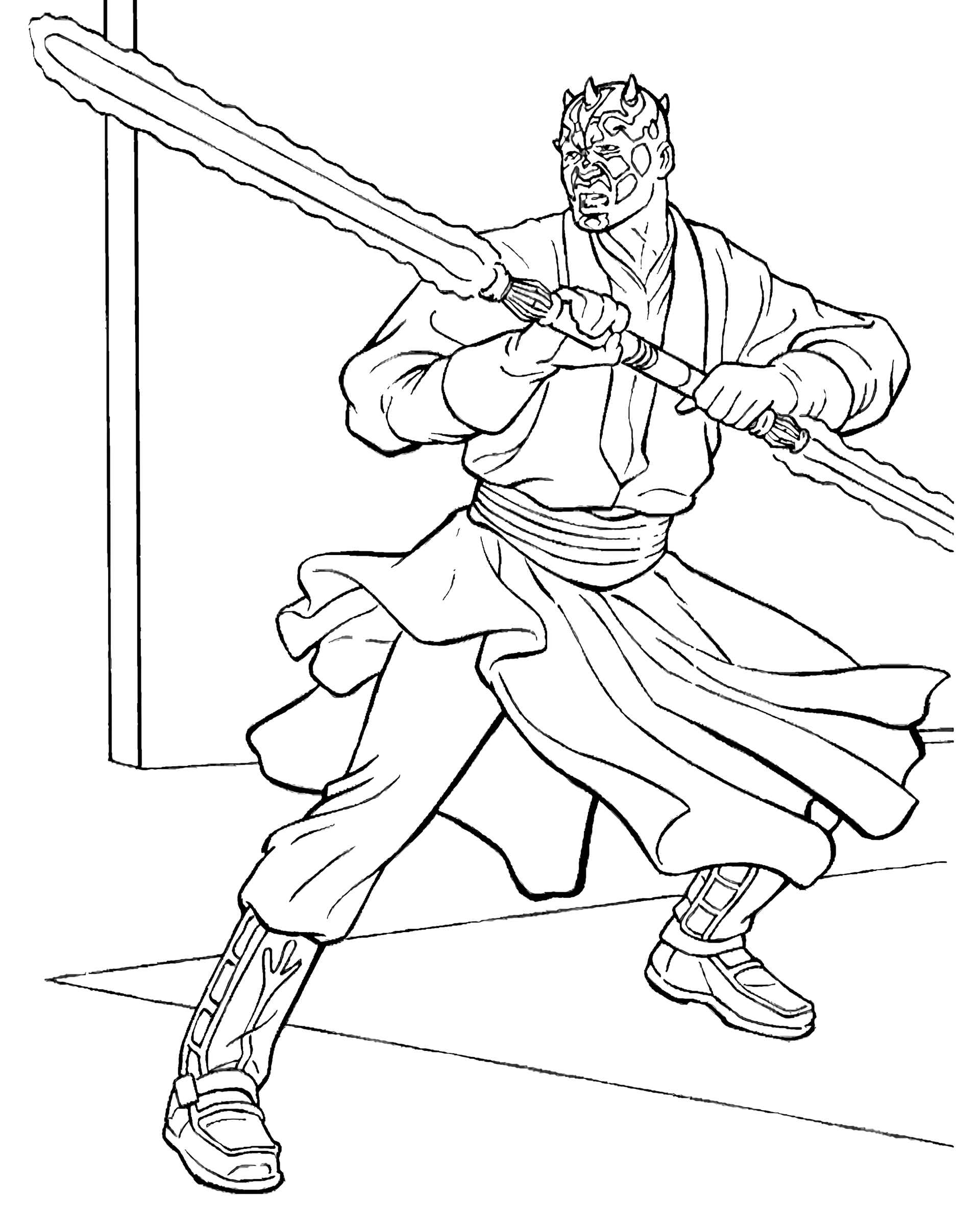 Darth Maul From Star Wars With Laser Weapons Coloring Page