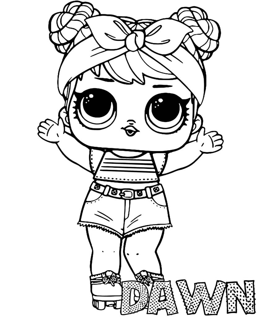 Dawn Doll From L.O.L. Suprise Coloring Sheets