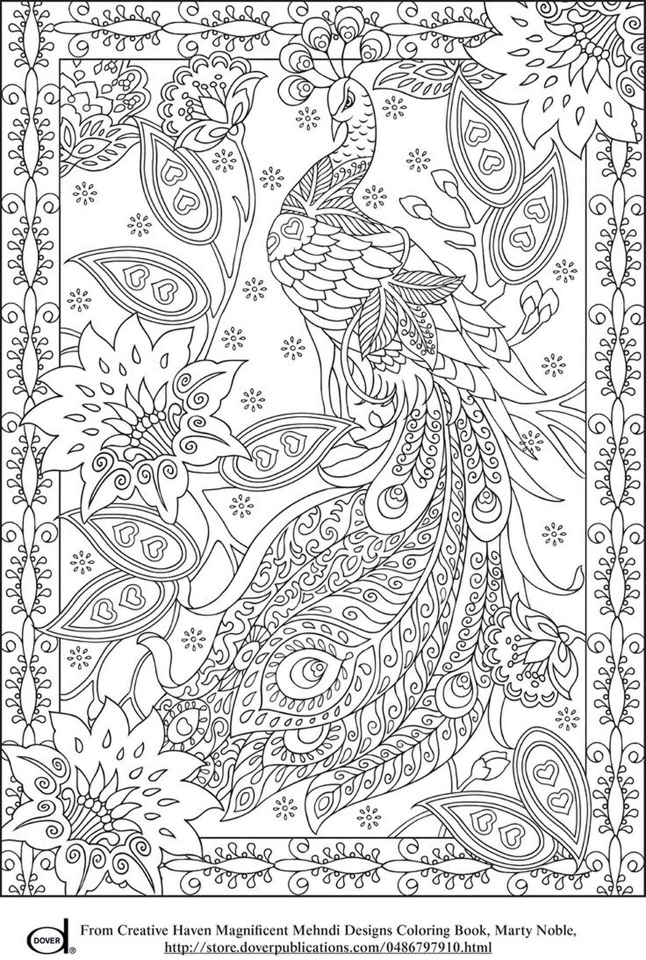 Difficult Peacock Adult Coloring Page