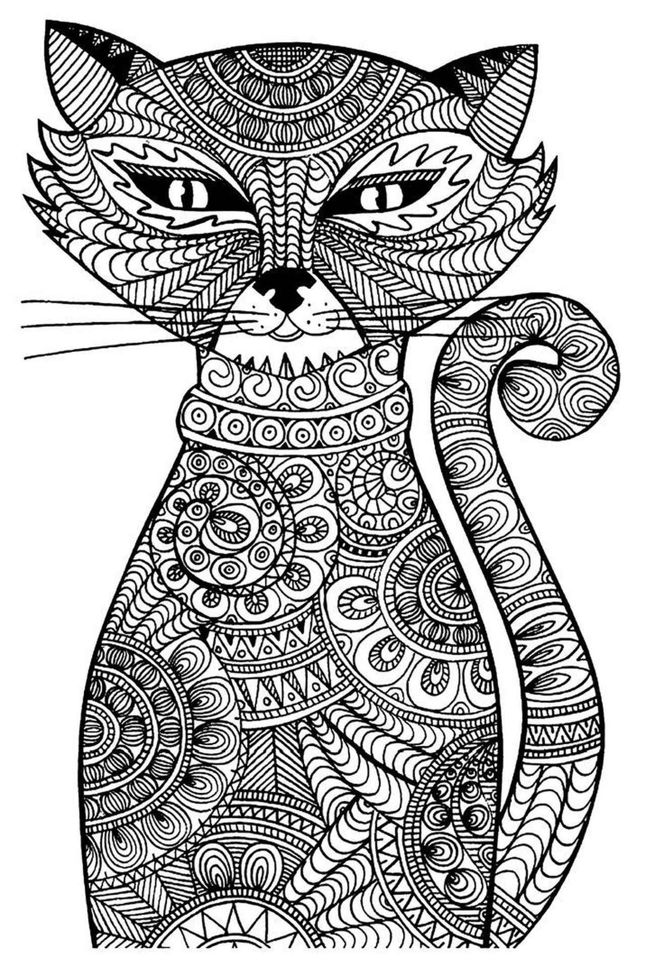Difficult To Color Cat Coloring Page
