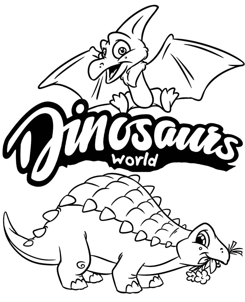 Dinosaurs World Coloring Page