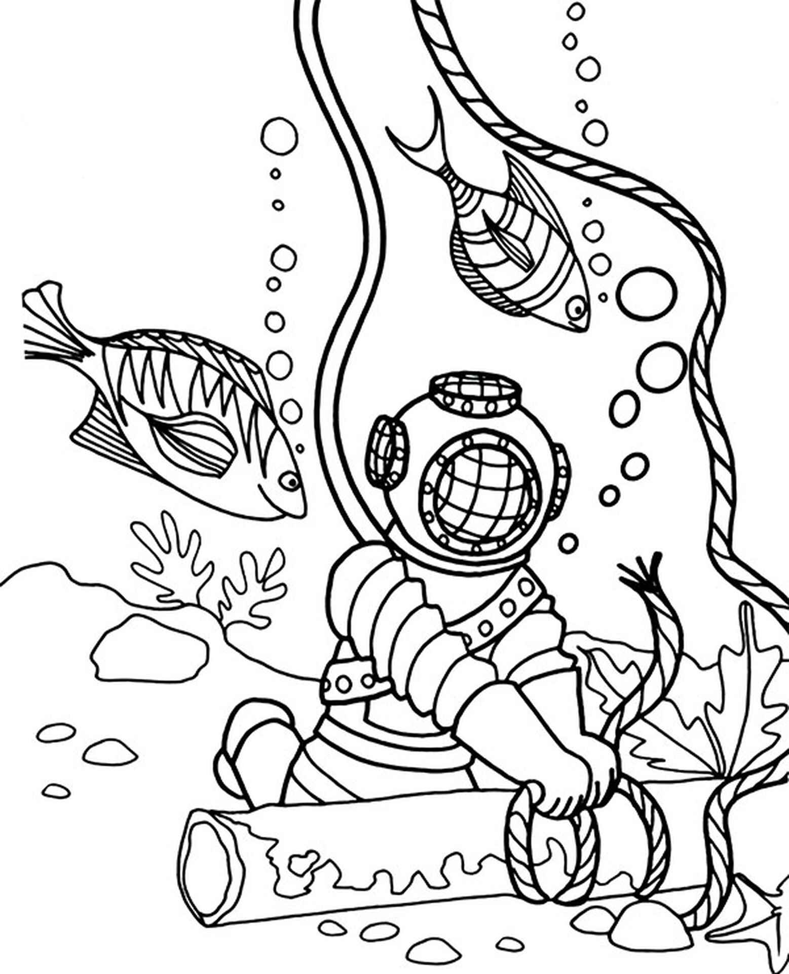 Diver Coloring Page For Children