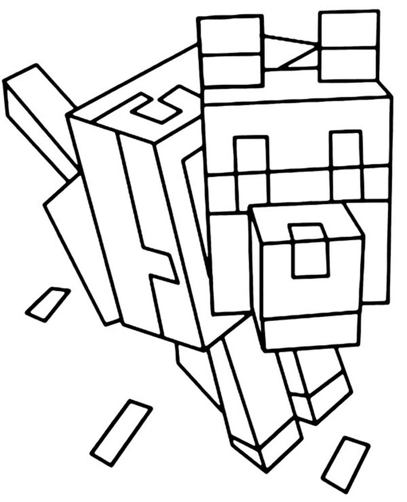 Dog Collar Sitting In Minecraft Coloring Page