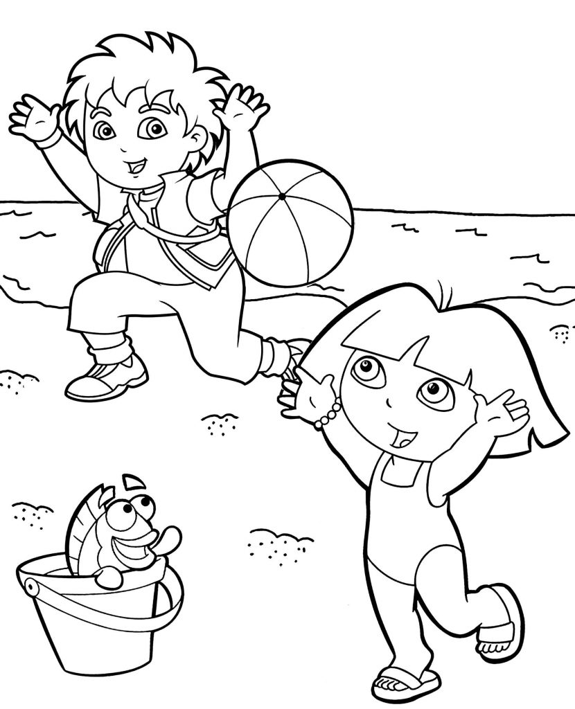Dora And Diego On The Beach Coloring Page