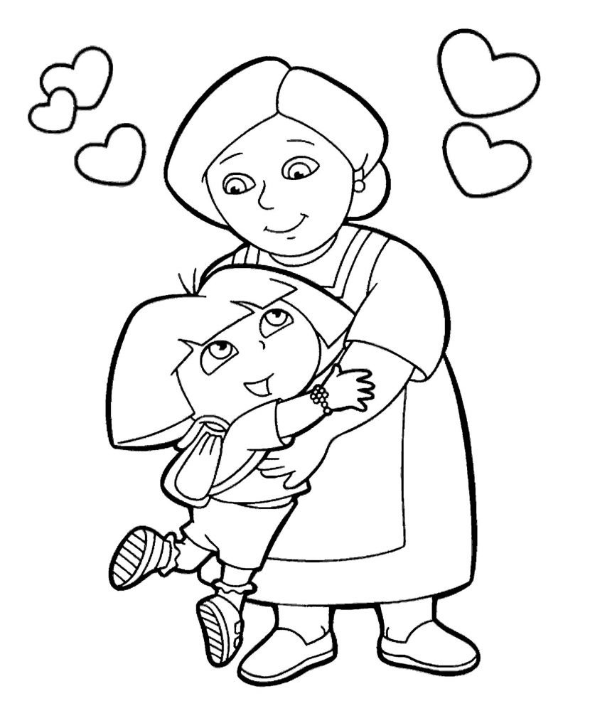 Dora And Her Grandmother Hug Coloring Page