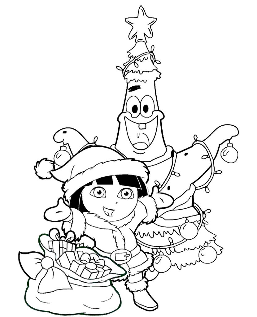 Dora And Patrick Celebrate Christmas Coloring Page