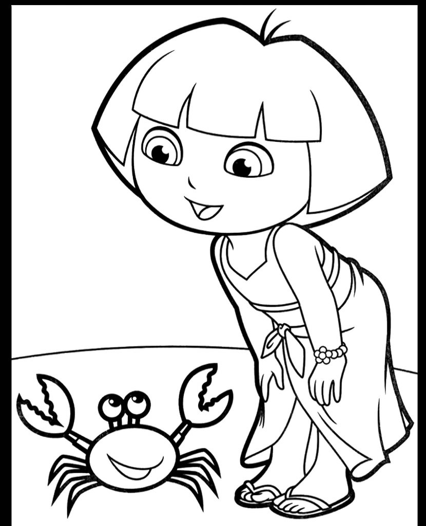 Dora And The Crab Coloring Page