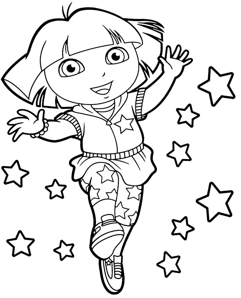 Dora And The Stars From The Movie Dora Coloring Page