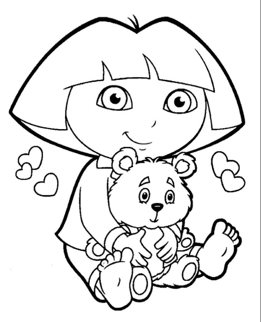 Dora And The Teddy Bear Coloring Page