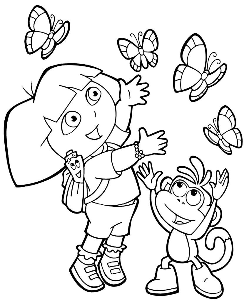 Dora, Boots And Butterflies Coloring Page