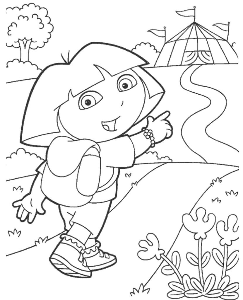 Dora Goes To The Circus Coloring Page