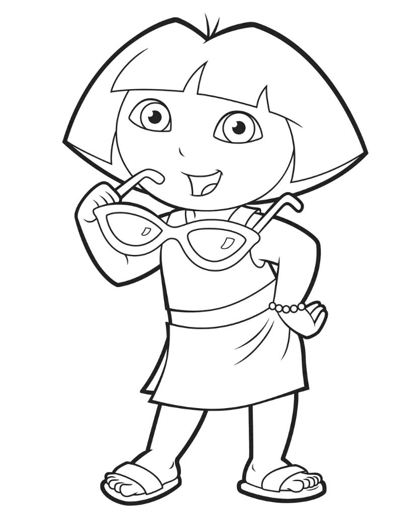 Dora In A Dress And With Glasses Coloring Page