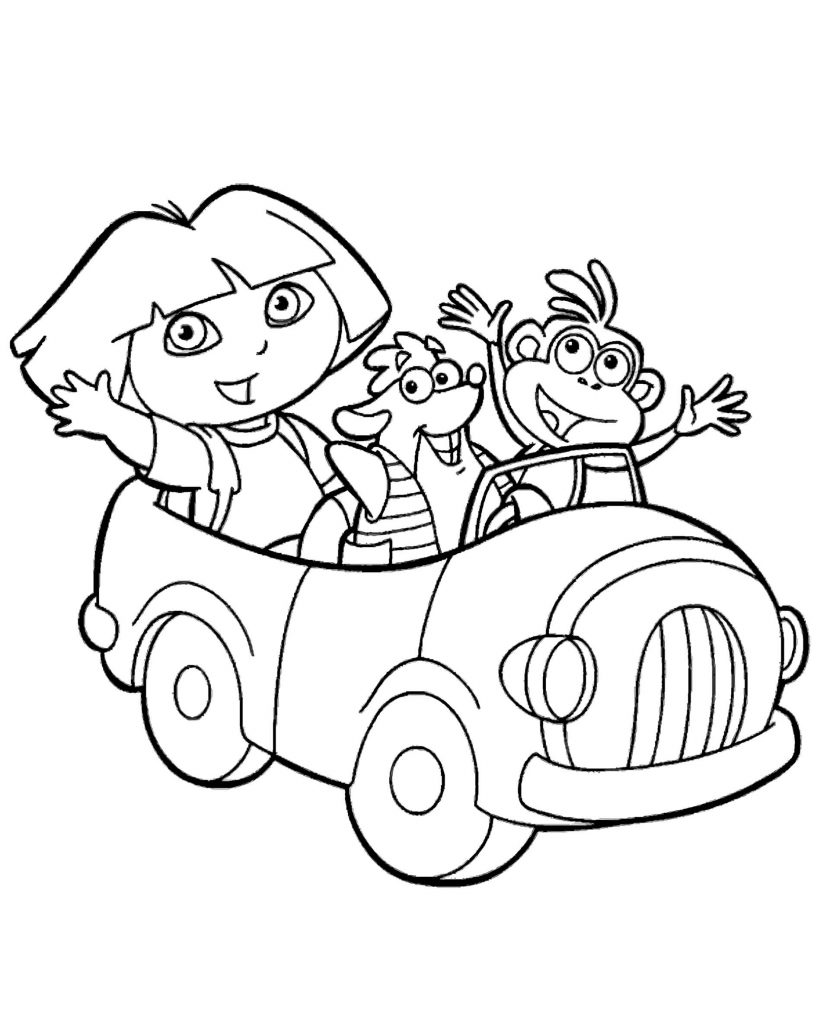 Dora In The Car Coloring Page