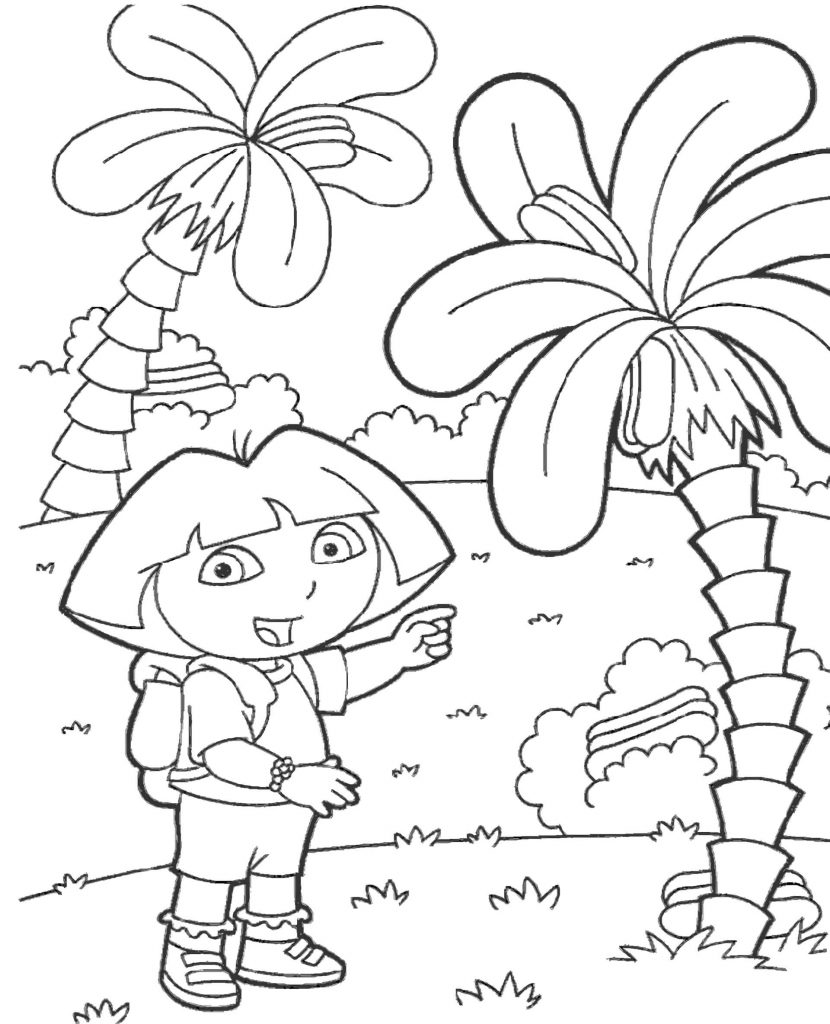 Dora In The Jungle Coloring Page