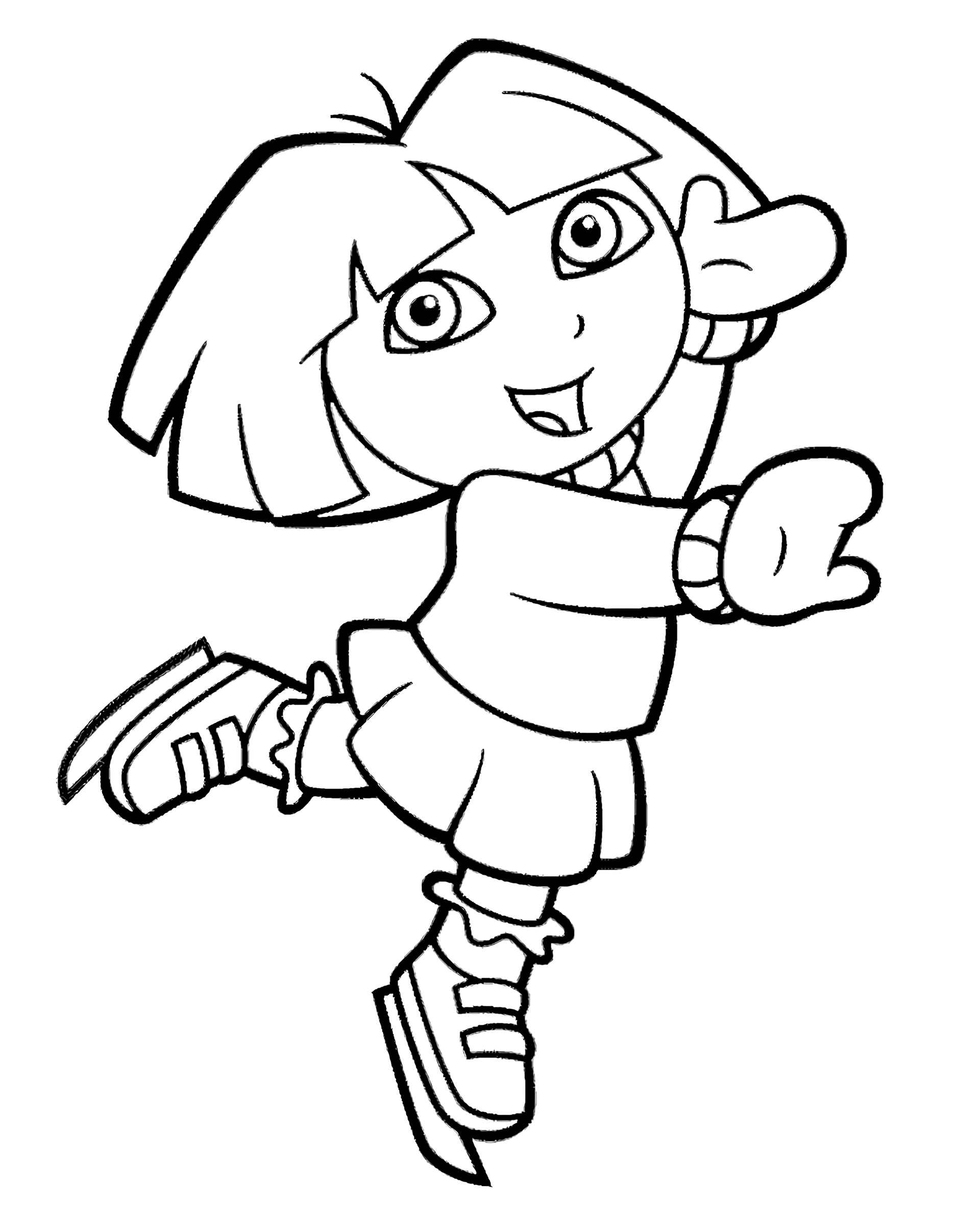 Dora Is Figure Skating Coloring Page