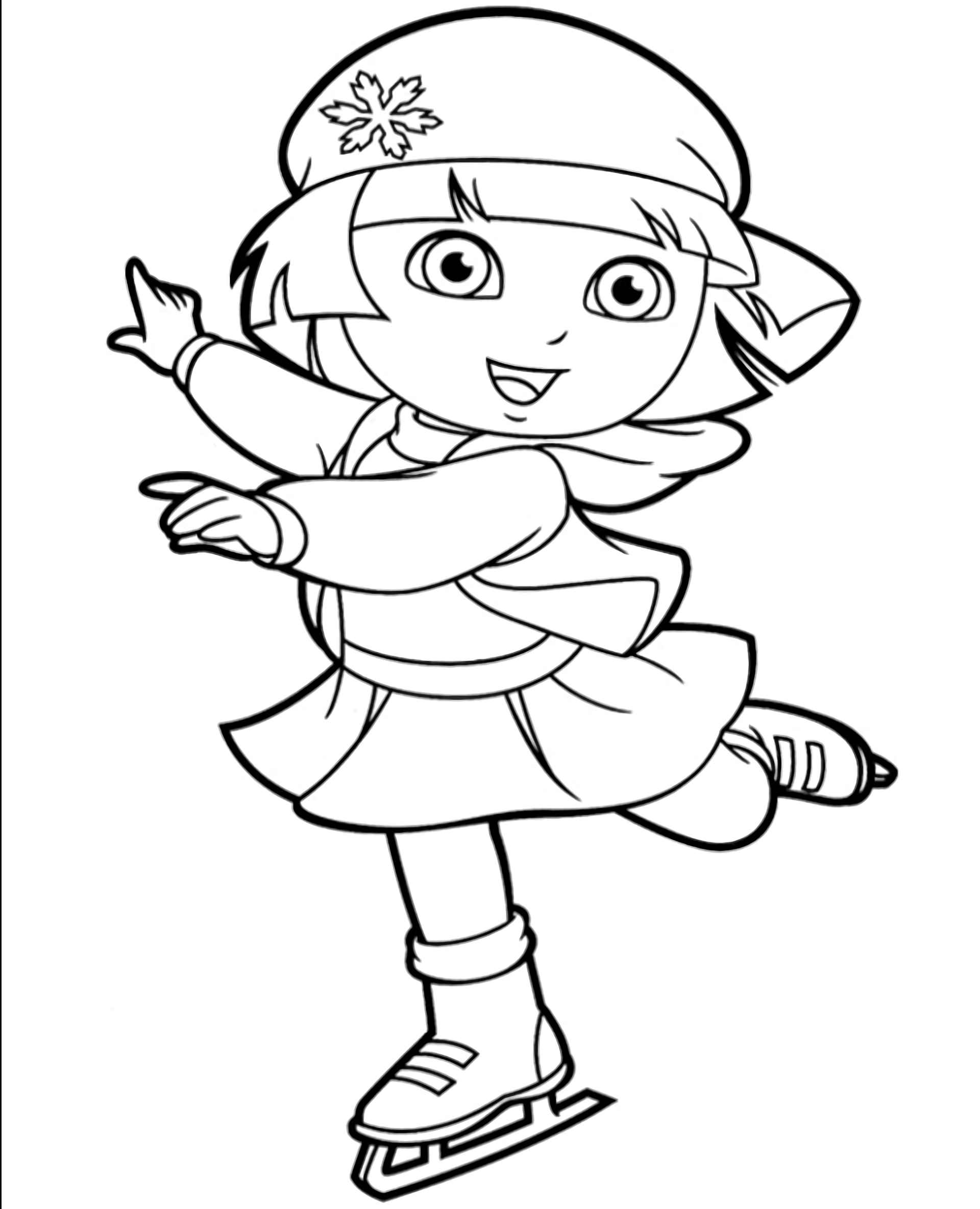 Dora Is Skating In Winter Coloring Page