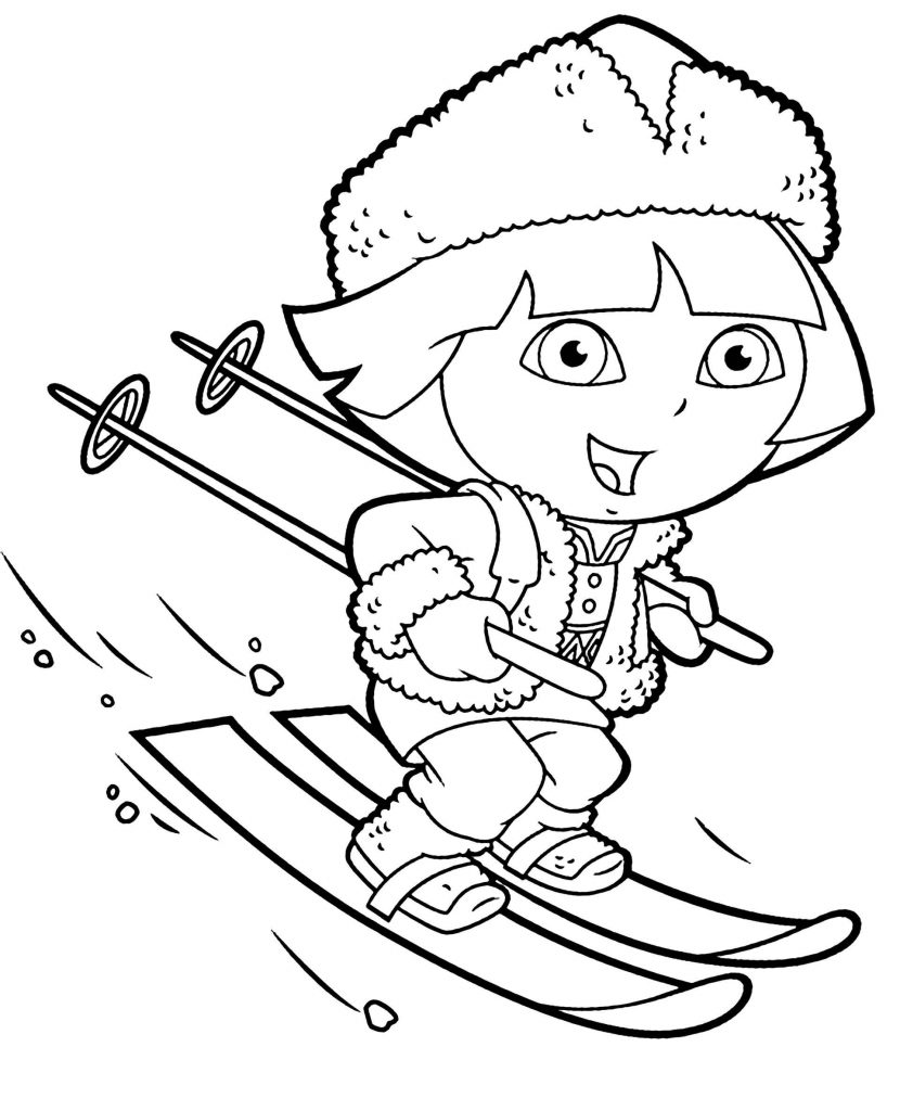 Dora Is Skiing On The Mountain Coloring Page