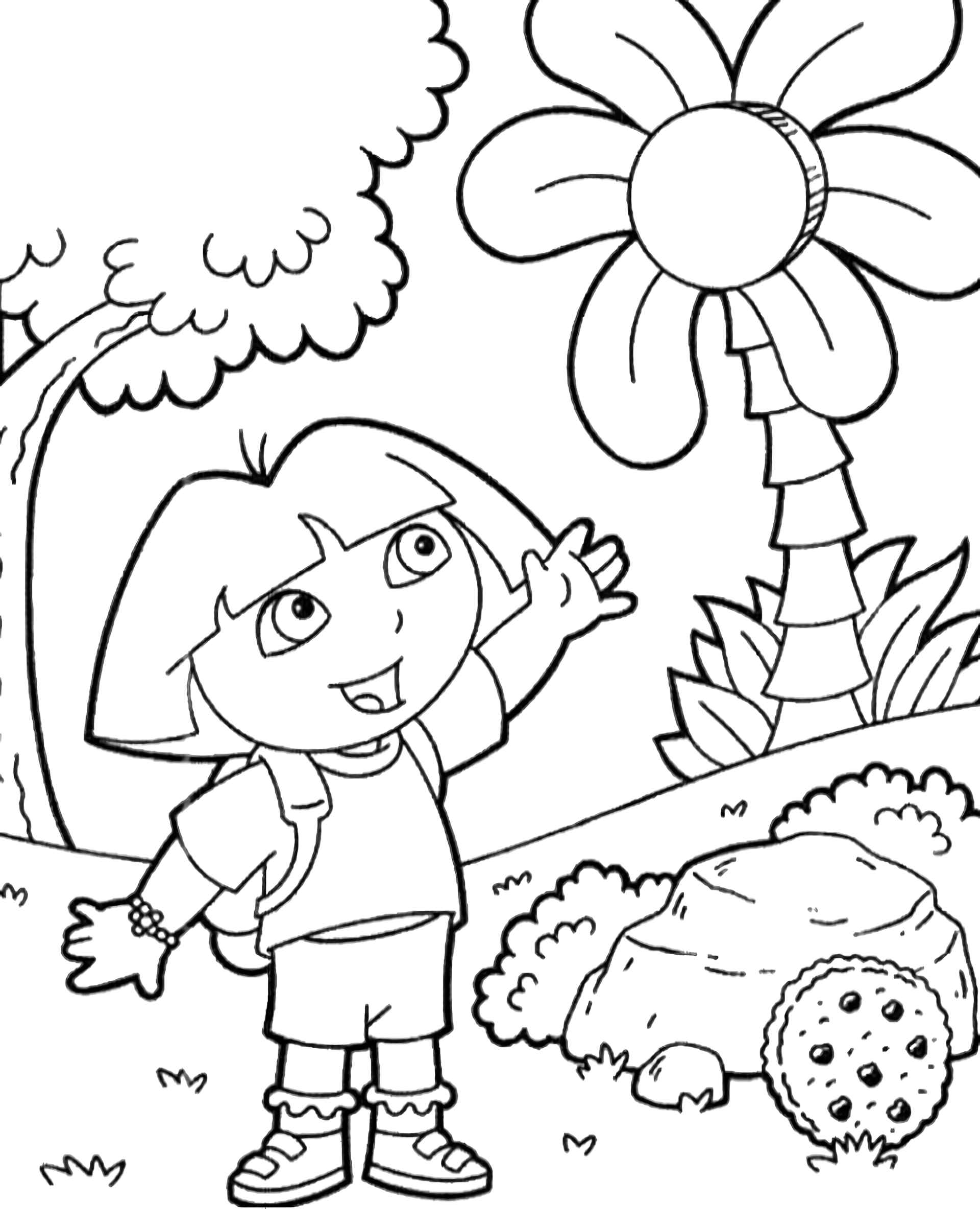 Dora Looks At The Tree Coloring Page
