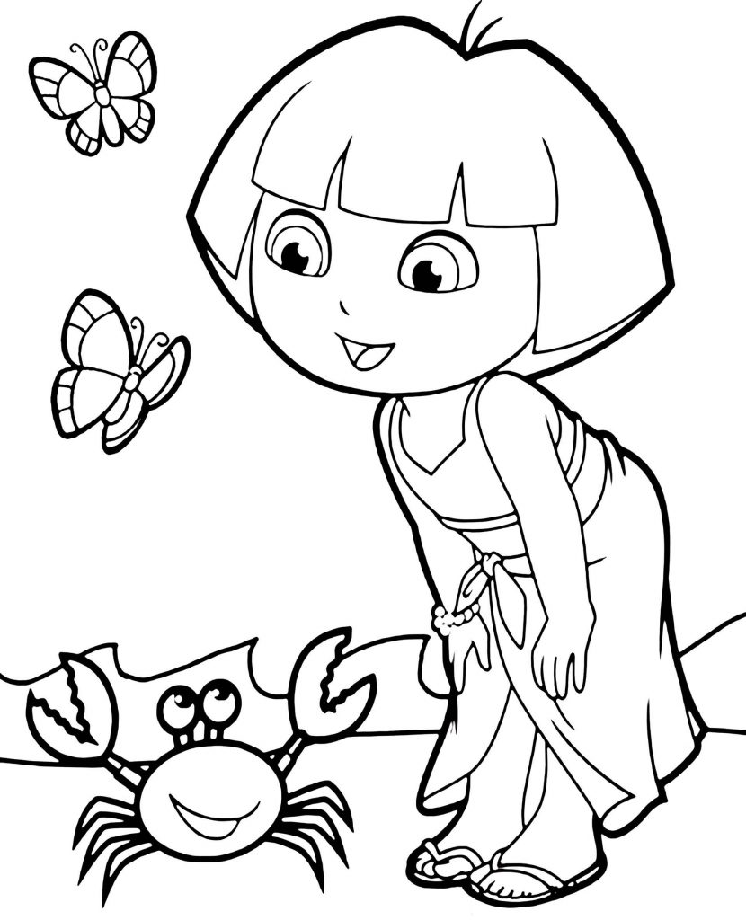 Dora Meets Crab And Butterflies Coloring Page