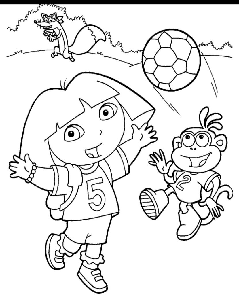 Dora Plays With Boots Coloring Page