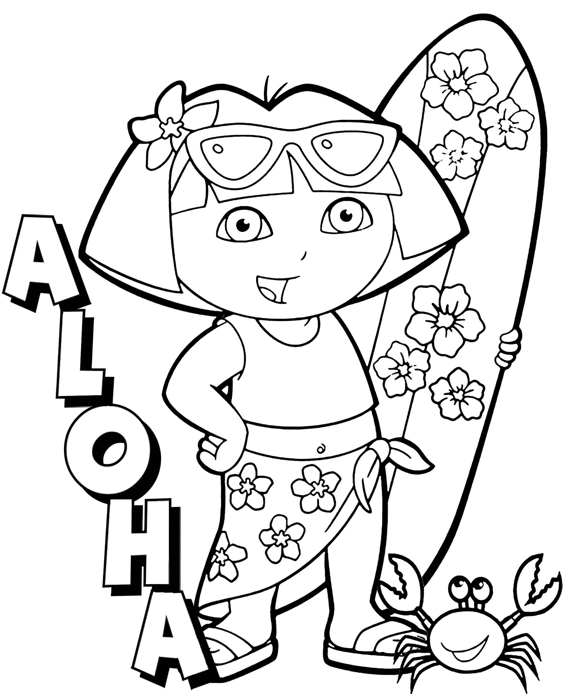 Dora The Traveler In Hawaii Coloring Page