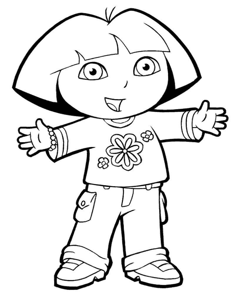 Dora Wants To Hug Coloring Page