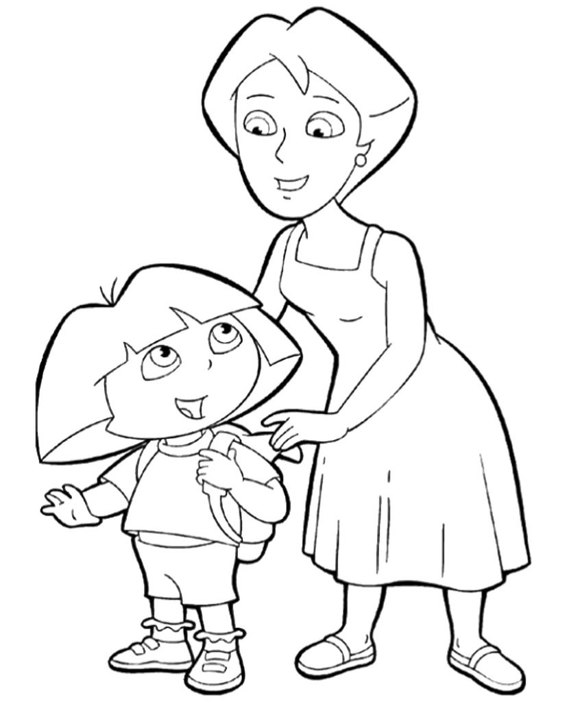 Dora's Mom Puts A Backpack On Dora Coloring Page