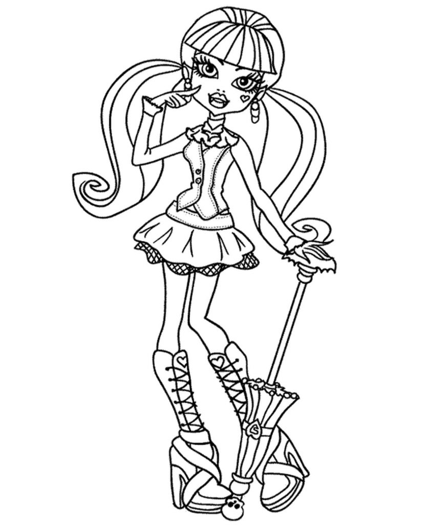 Draculaura From Monster High With An Umbrella Coloring Pages