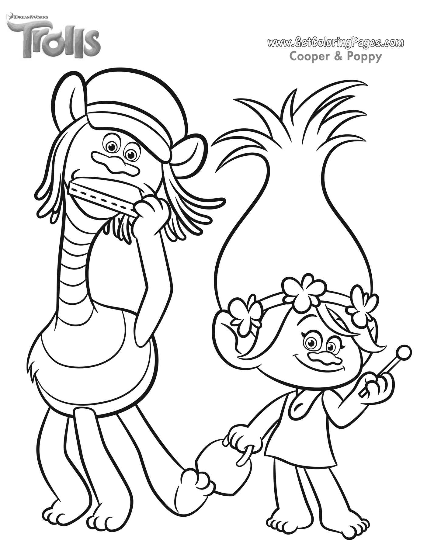 Dreamworks Trolls Coloring Page