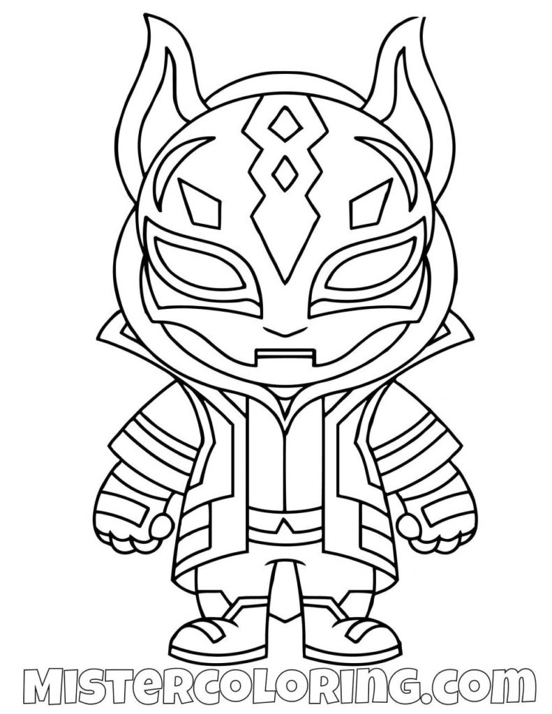 Drift Chibi Skin From The Game Fortnite Coloring Page