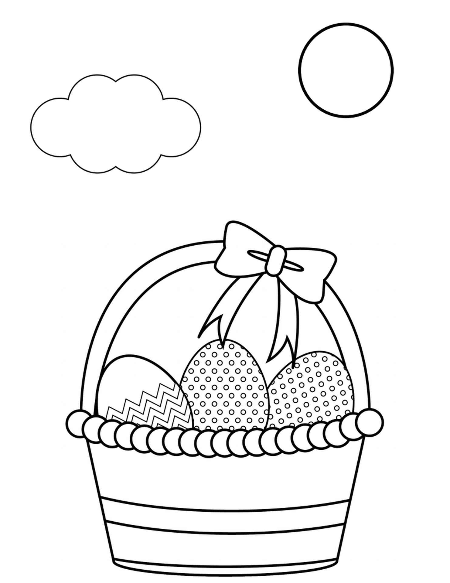 Easter Basket Coloring Sheet For Kids
