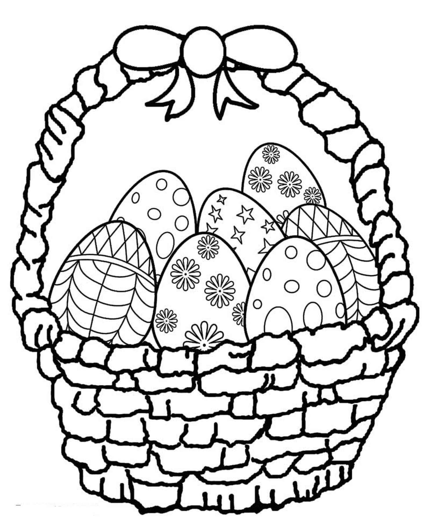 Easter Basket Full Of Eggs Coloring Page
